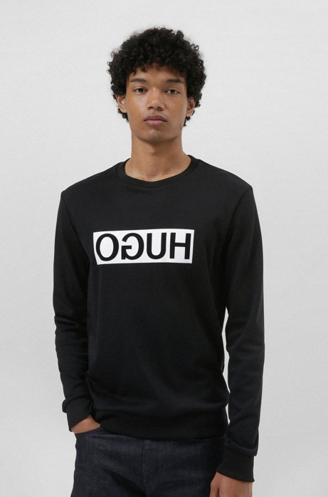 Regular-fit interlock cotton sweatshirt with reverse logo, Black