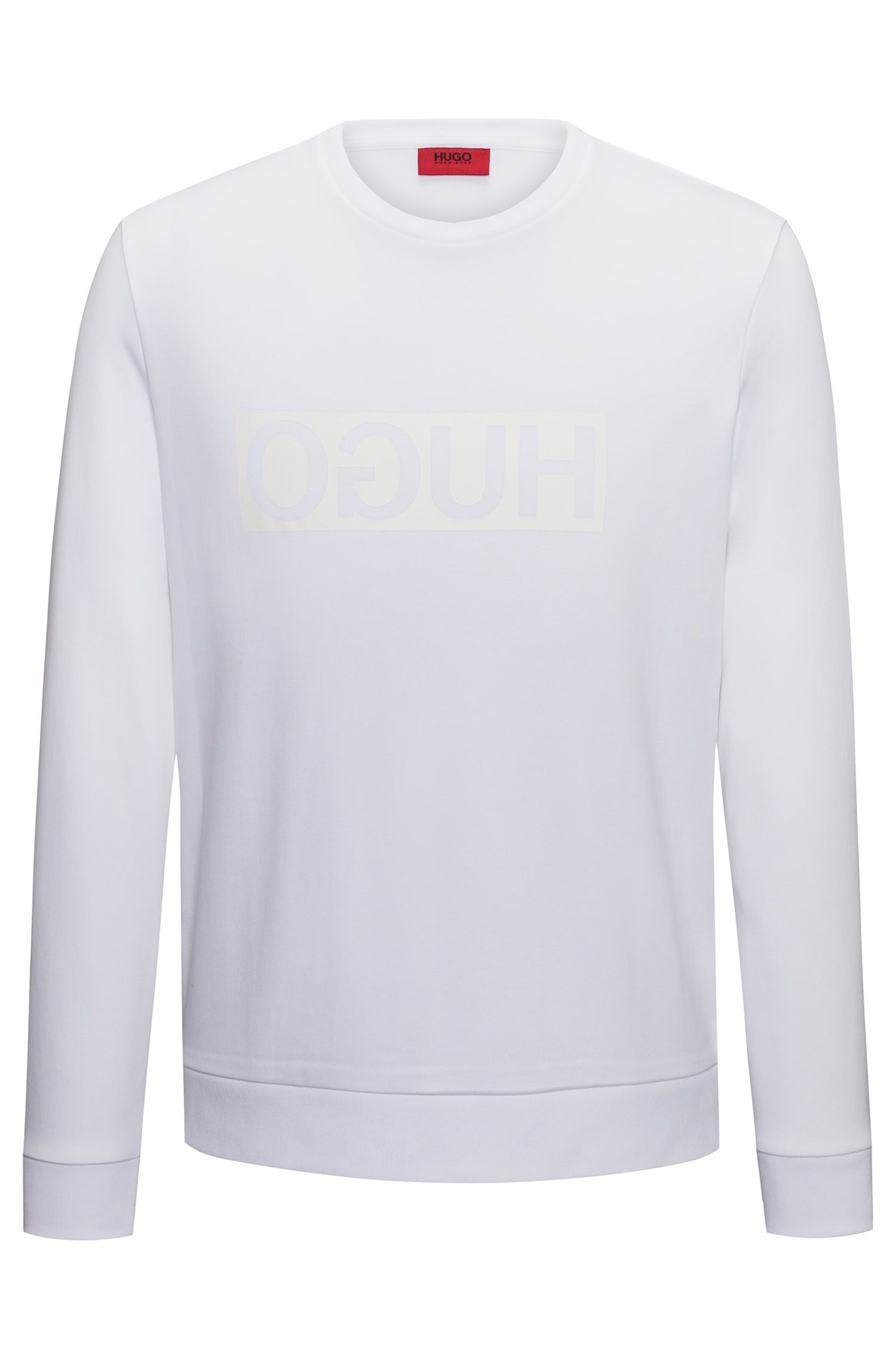 Regular-fit interlock cotton sweatshirt with reverse logo, Natural