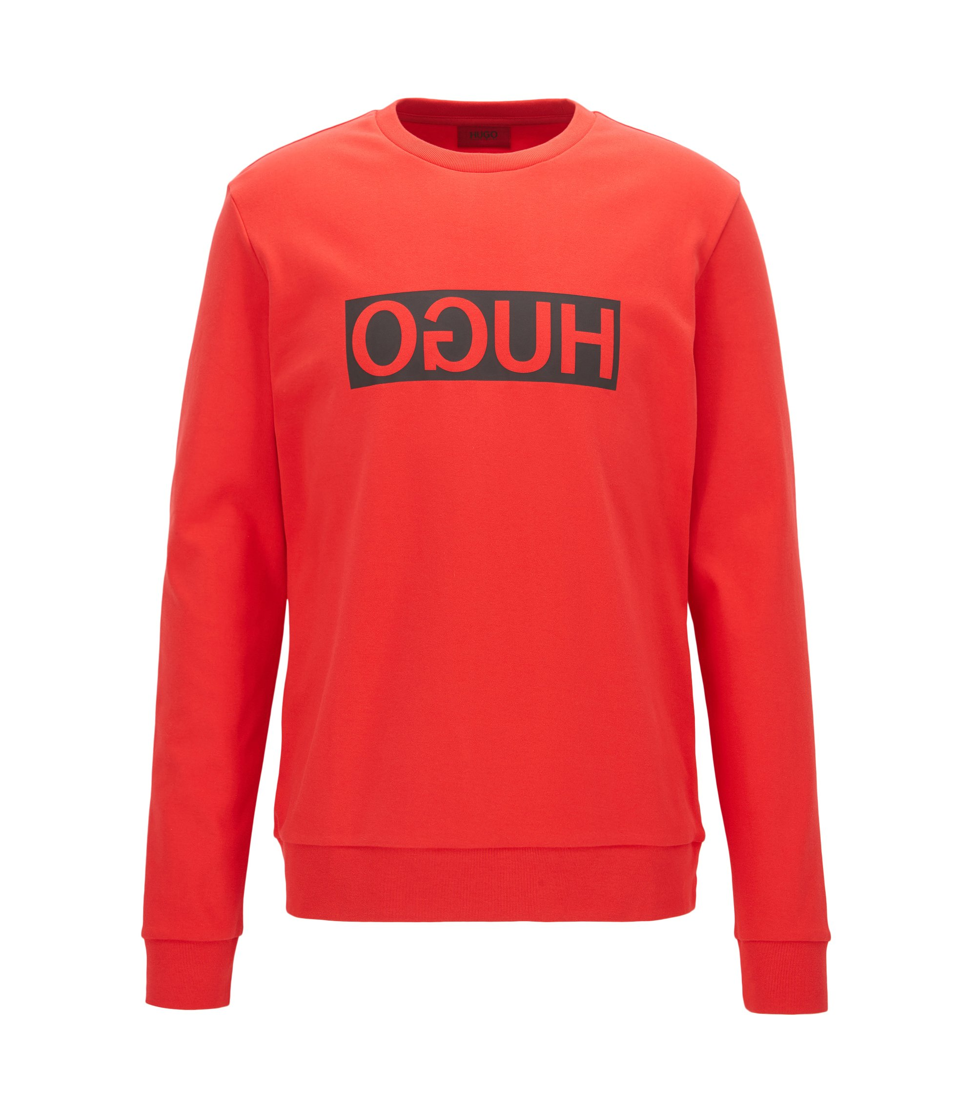 Regular-fit interlock cotton sweatshirt with reverse logo, Red