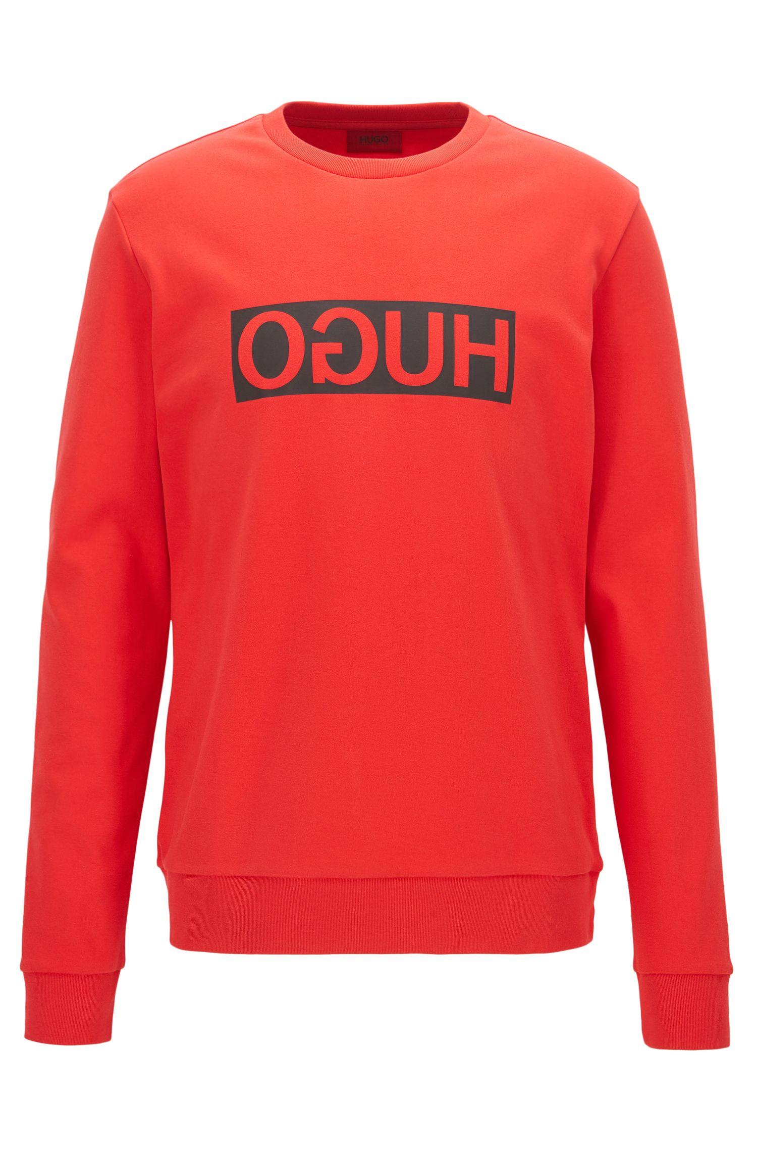 Regular-fit interlock cotton sweatshirt with reverse logo, Red