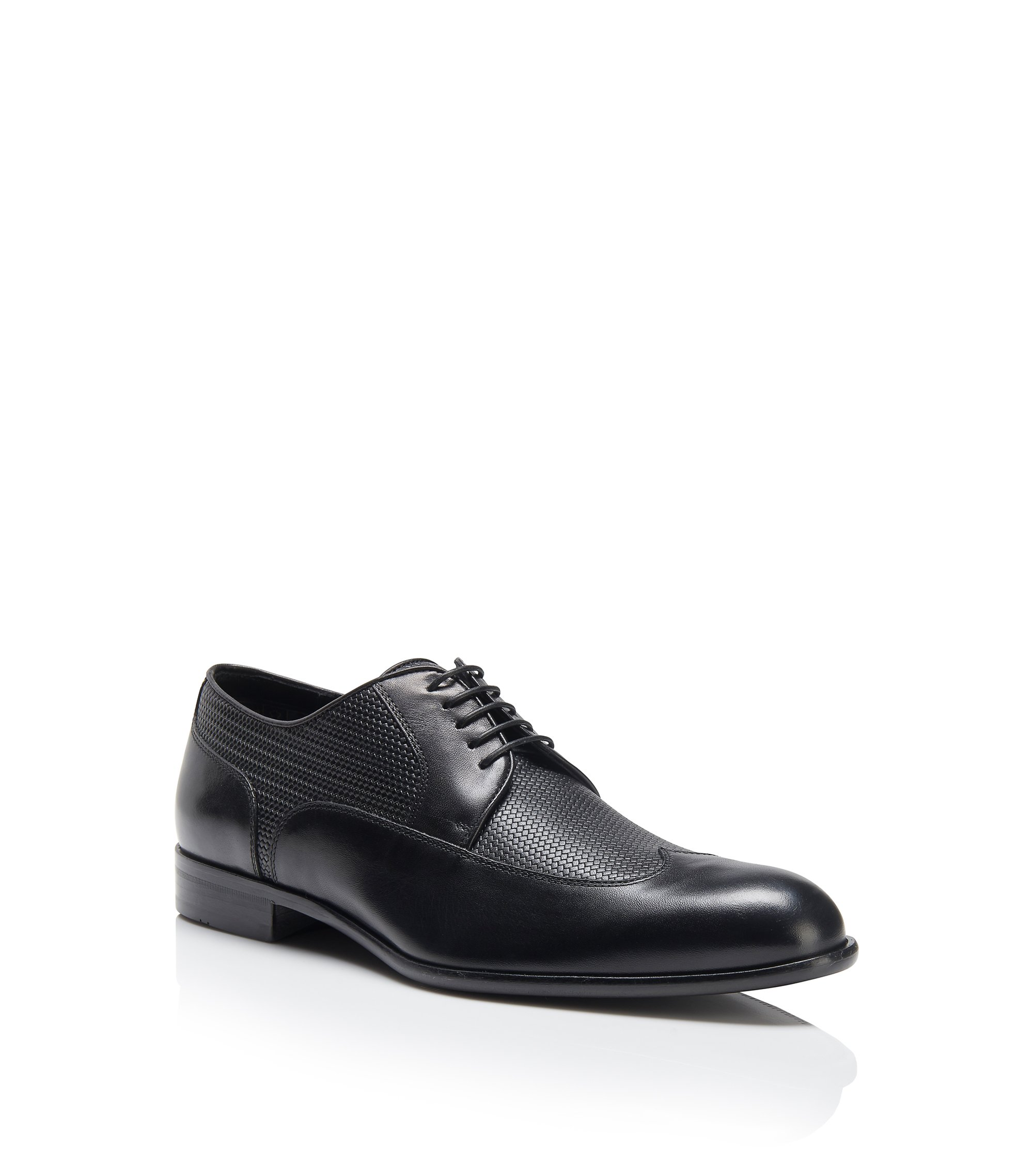 Italian Leather Wingtip Derby Dress Shoe | Maderb, Black