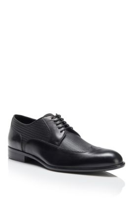 Italian Leather Wingtip Derby Dress Shoe | Maderb, Black