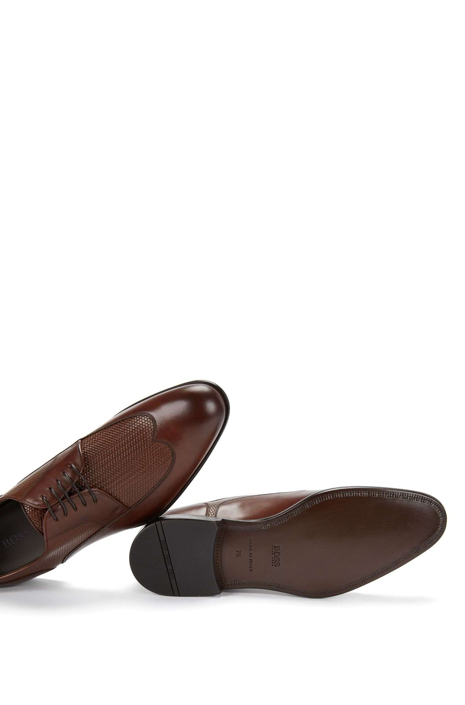Italian Leather Wingtip Derby Dress Shoe | Maderb, Brown