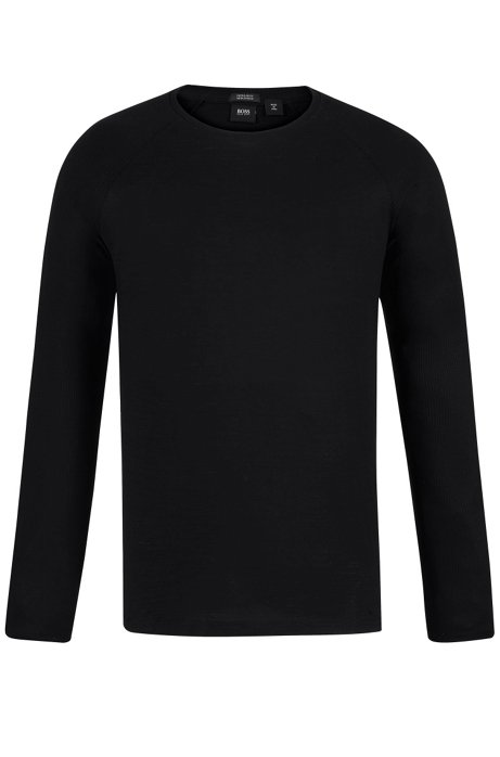 Long-sleeved T-shirt in mercerized cotton with ribbing, Black