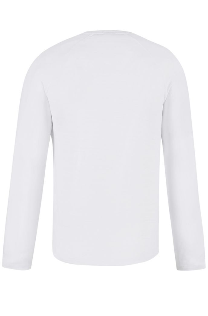 Long-sleeved T-shirt in mercerized cotton with ribbing