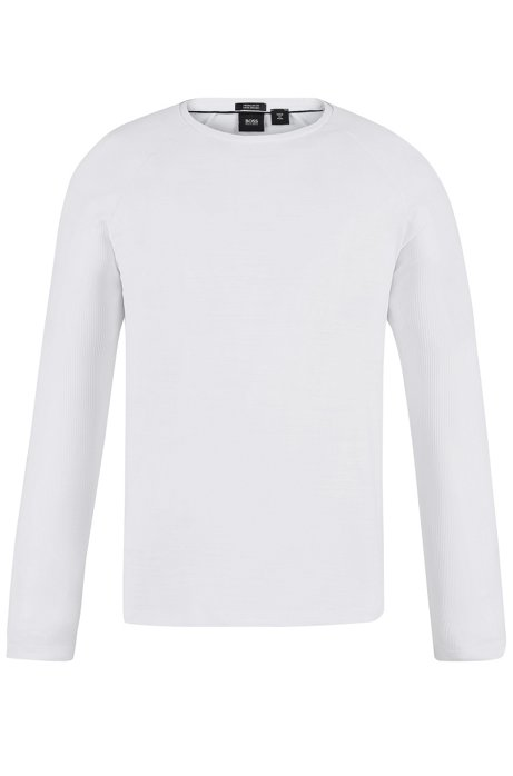 Long-sleeved T-shirt in mercerized cotton with ribbing, White