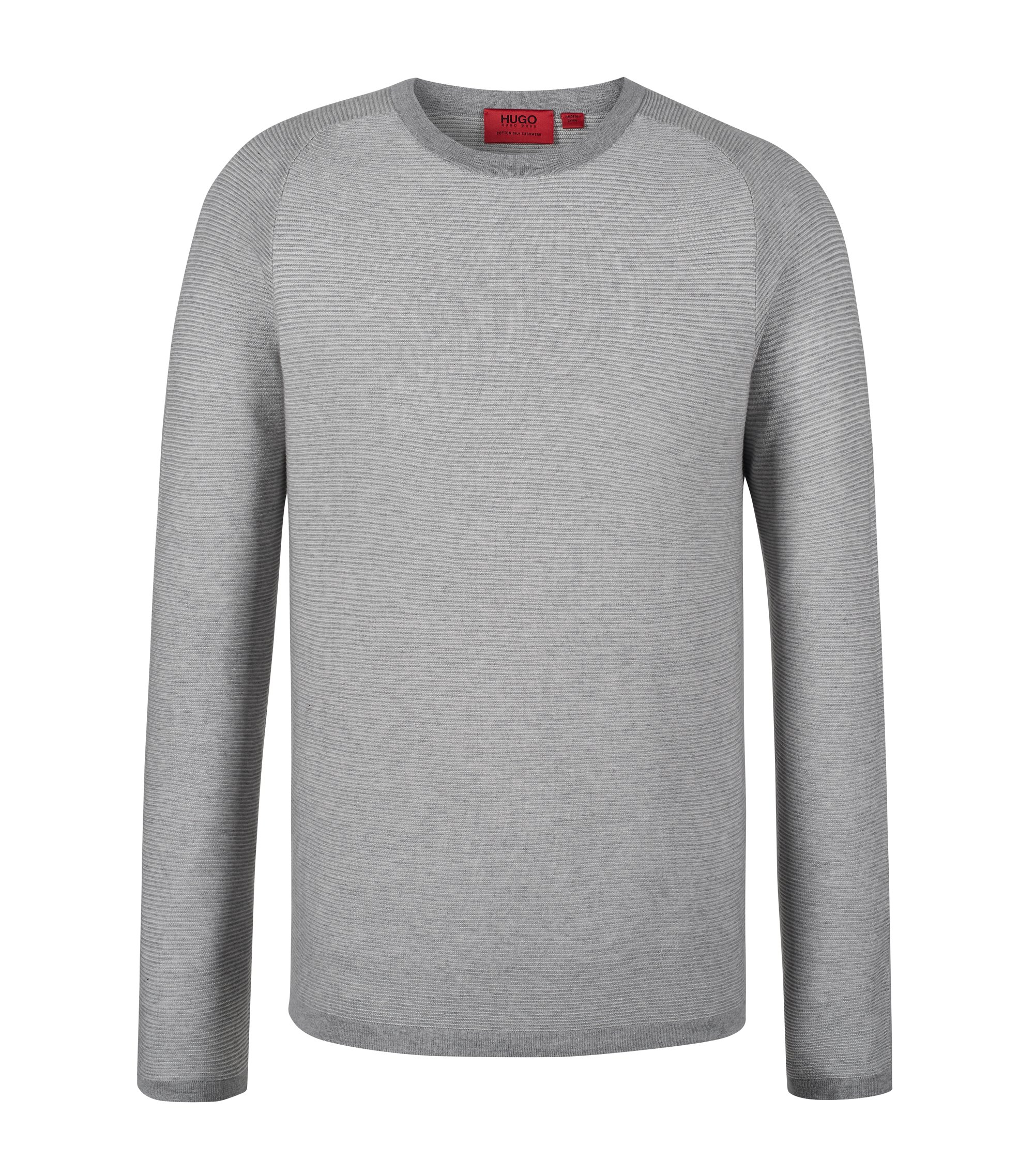 'Sraglan' | Cotton Silk Cashmere Sweater, Open Grey