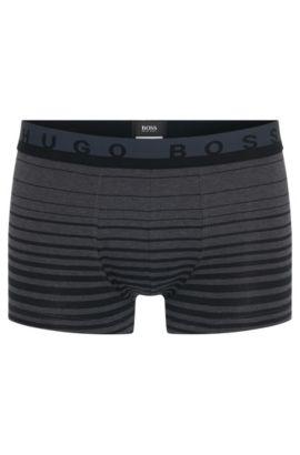 'Boxer Degradee Stripe' | Stretch Cotton Trunks, Open Grey