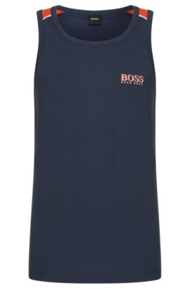 Cotton Logo Tank Top | Beach Tank Top, Dark Blue