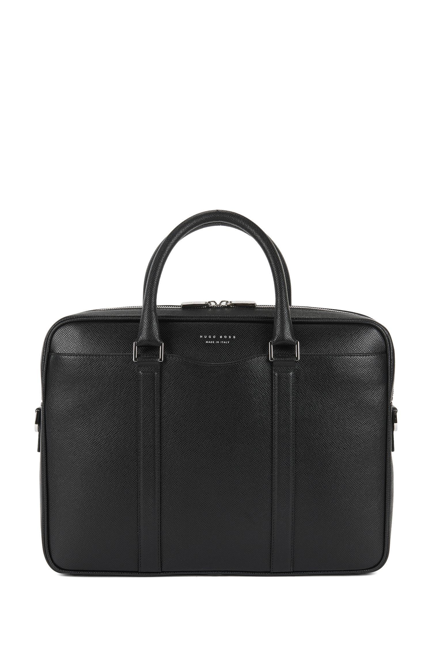 Italian Calfskin Workbag | Signature S Doc, Black