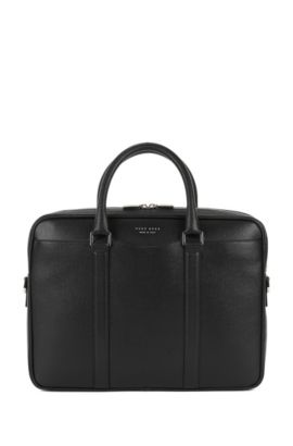 'Signature S Doc' | Italian Calfskin Workbag, Detachable Shoulder Strap, Black