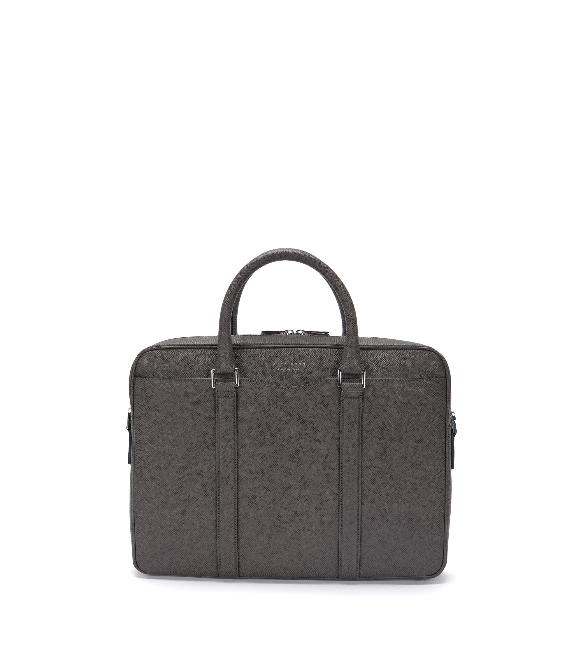 Italian Calfskin Workbag | Signature S Doc, Dark Grey