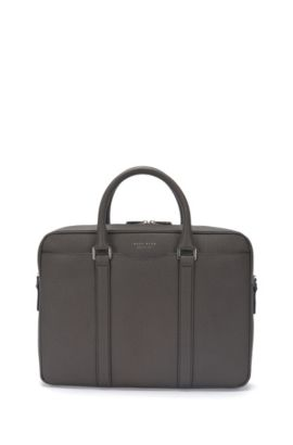 'Signature S Doc' | Italian Calfskin Workbag, Detachable Shoulder Strap, Dark Grey