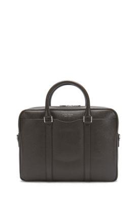'Signature S Doc' | Italian Calfskin Workbag, Detachable Shoulder Strap, Dark Brown