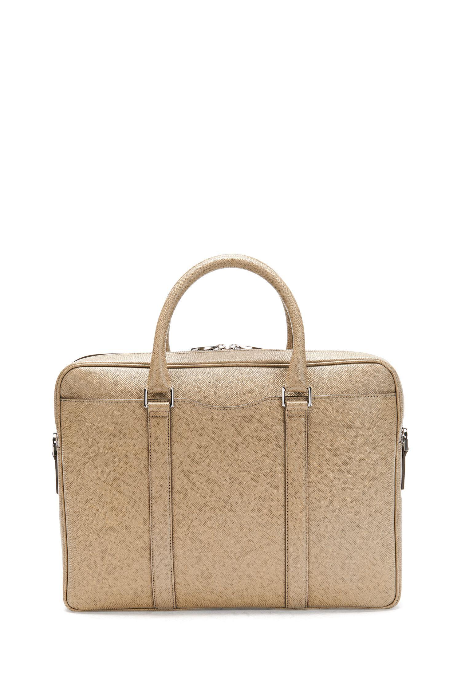 'Signature S Doc' | Italian Calfskin Workbag, Detachable Shoulder Strap