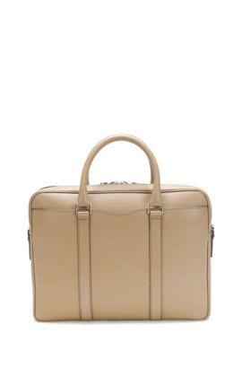 Italian Calfskin Workbag | Signature S Doc, Beige