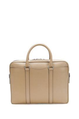 'Signature S Doc' | Italian Calfskin Workbag, Detachable Shoulder Strap, Beige