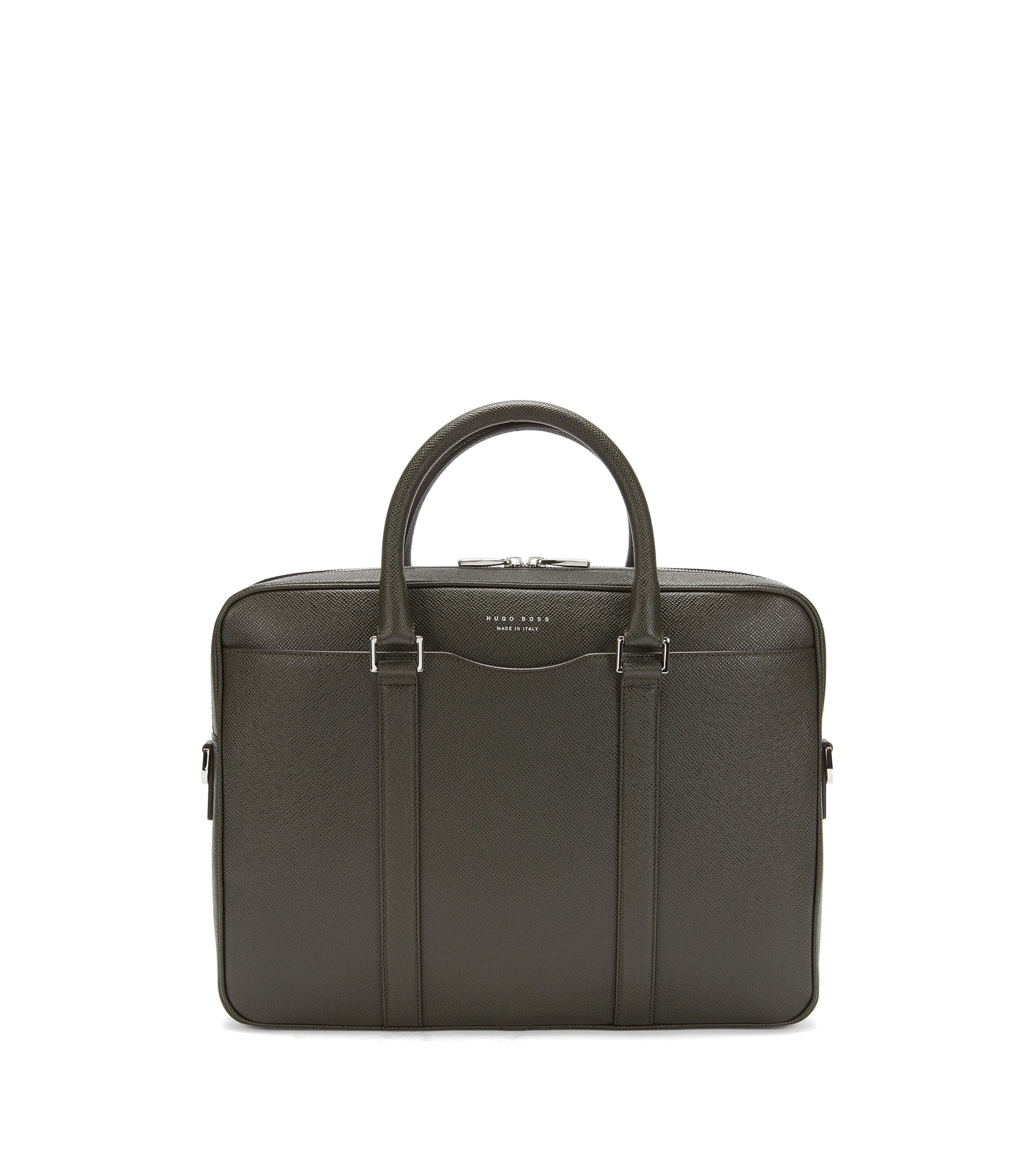 Italian Calfskin Workbag | Signature S Doc, Dark Green