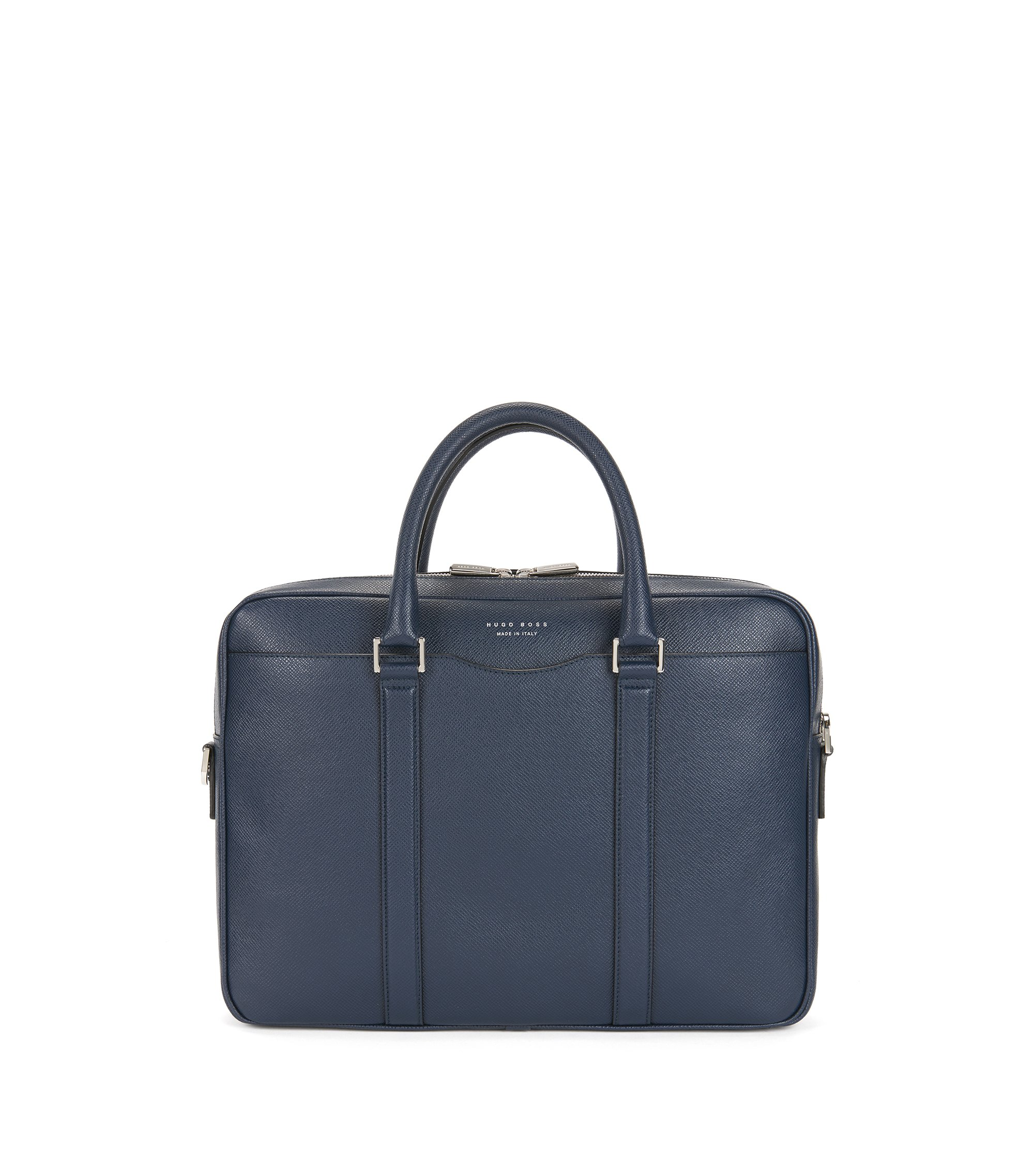 Italian Calfskin Workbag | Signature S Doc, Dark Blue