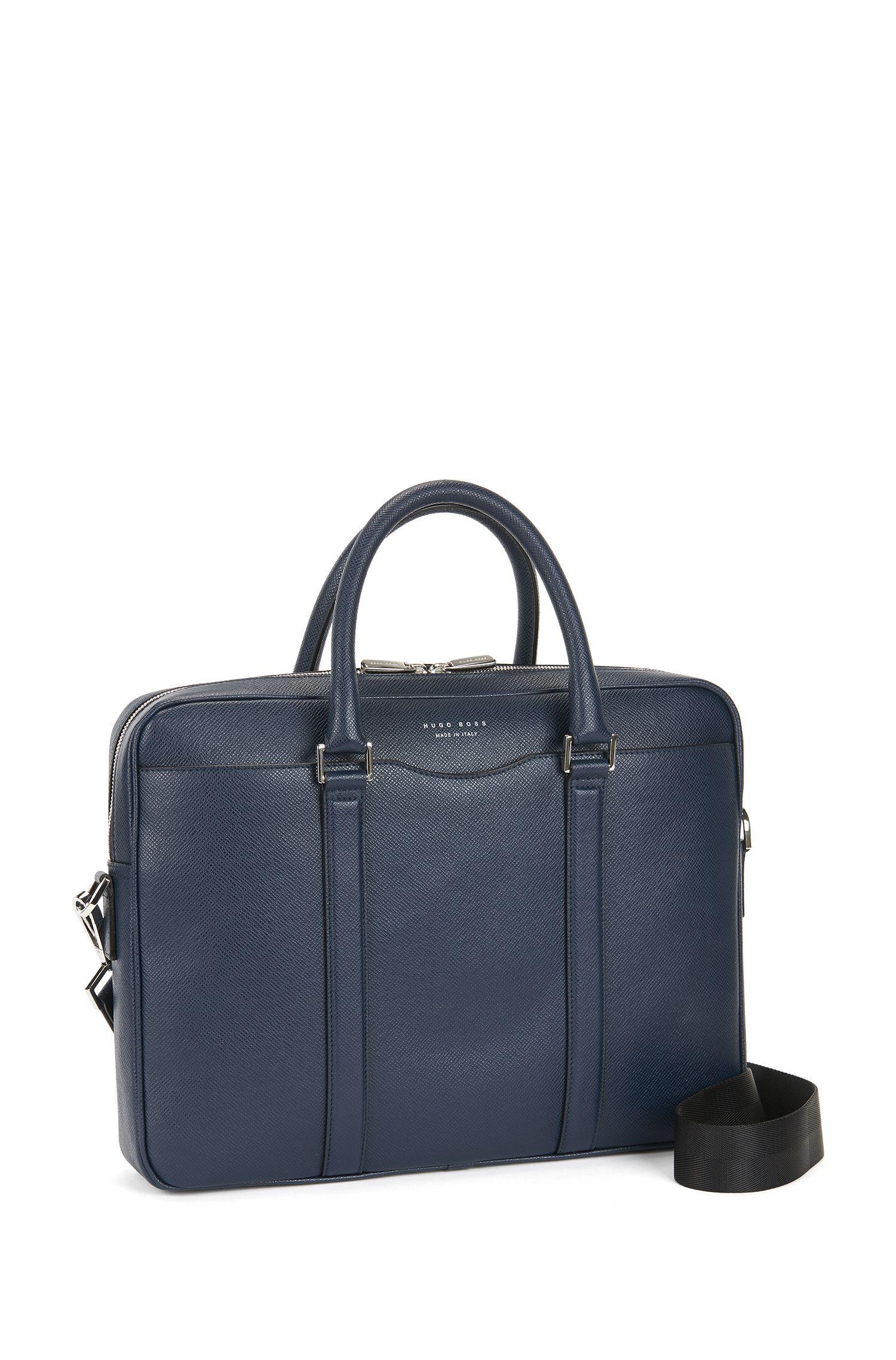 Italian Calfskin Workbag | Signature S Doc, Dark Blue