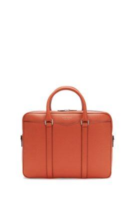 Italian Calfskin Workbag | Signature S Doc, Orange