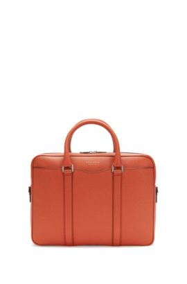 'Signature S Doc' | Italian Calfskin Workbag, Detachable Shoulder Strap, Orange