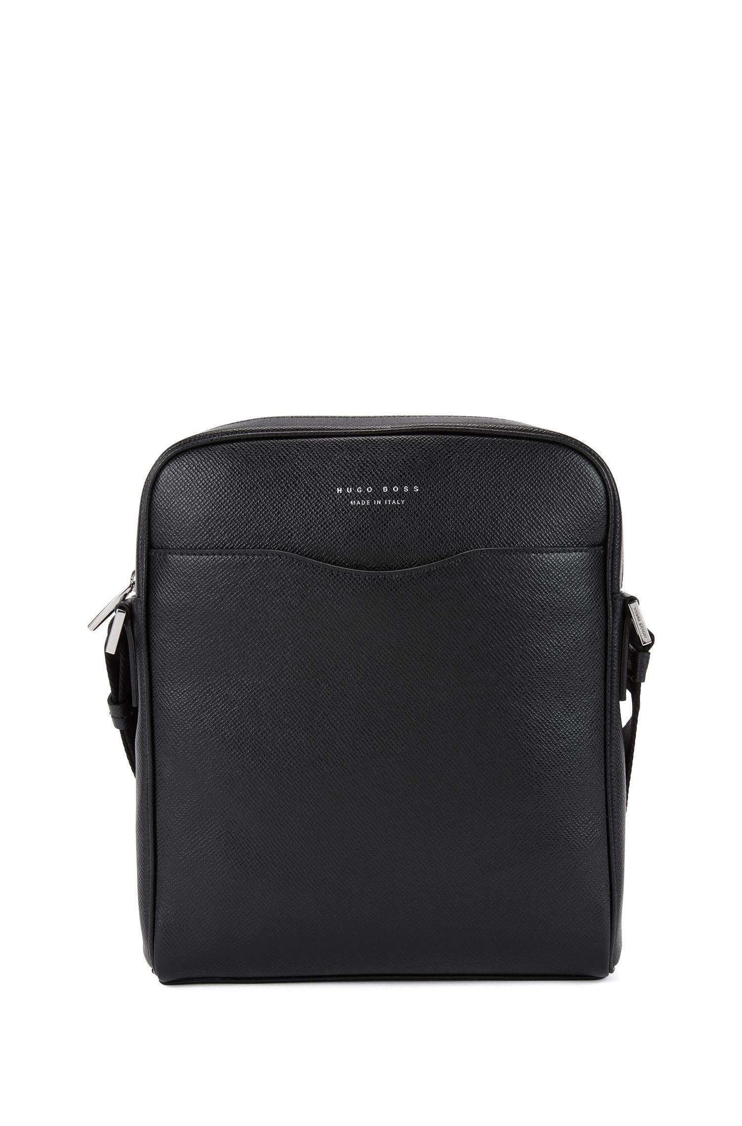 'Signature NS Zip' | Calfskin Reporter Bag, Shoulder Strap