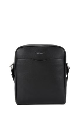 'Signature NS Zip' | Calfskin Reporter Bag, Shoulder Strap, Black