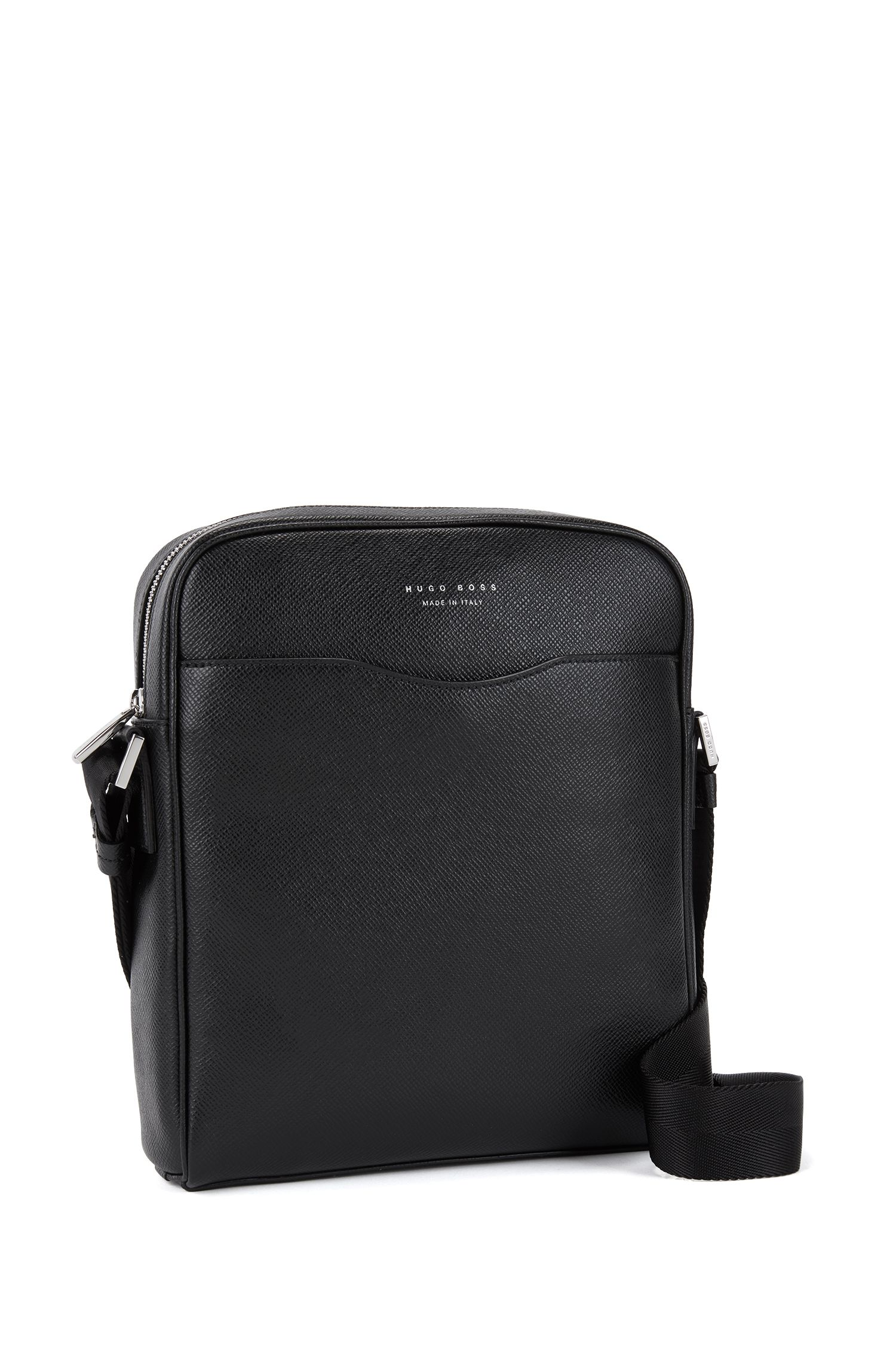 Calfskin Reporter Bag | Signature NS Zip, Black