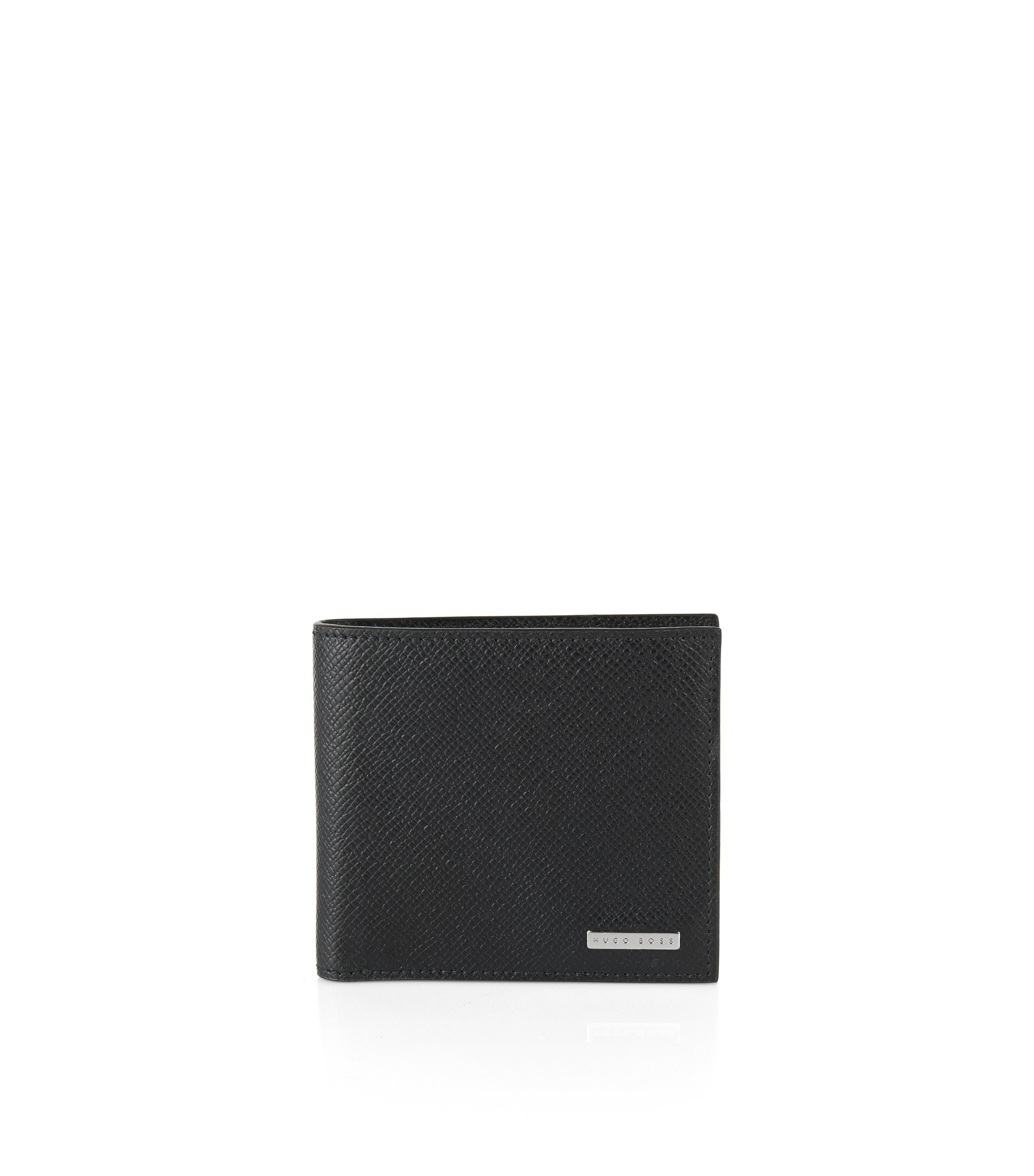 Calfskin Pebbled Wallet | Signature Coin, Black