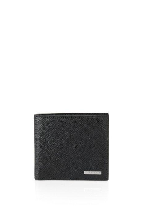 Calfskin Pebbled Wallet | Signature Coin, Black