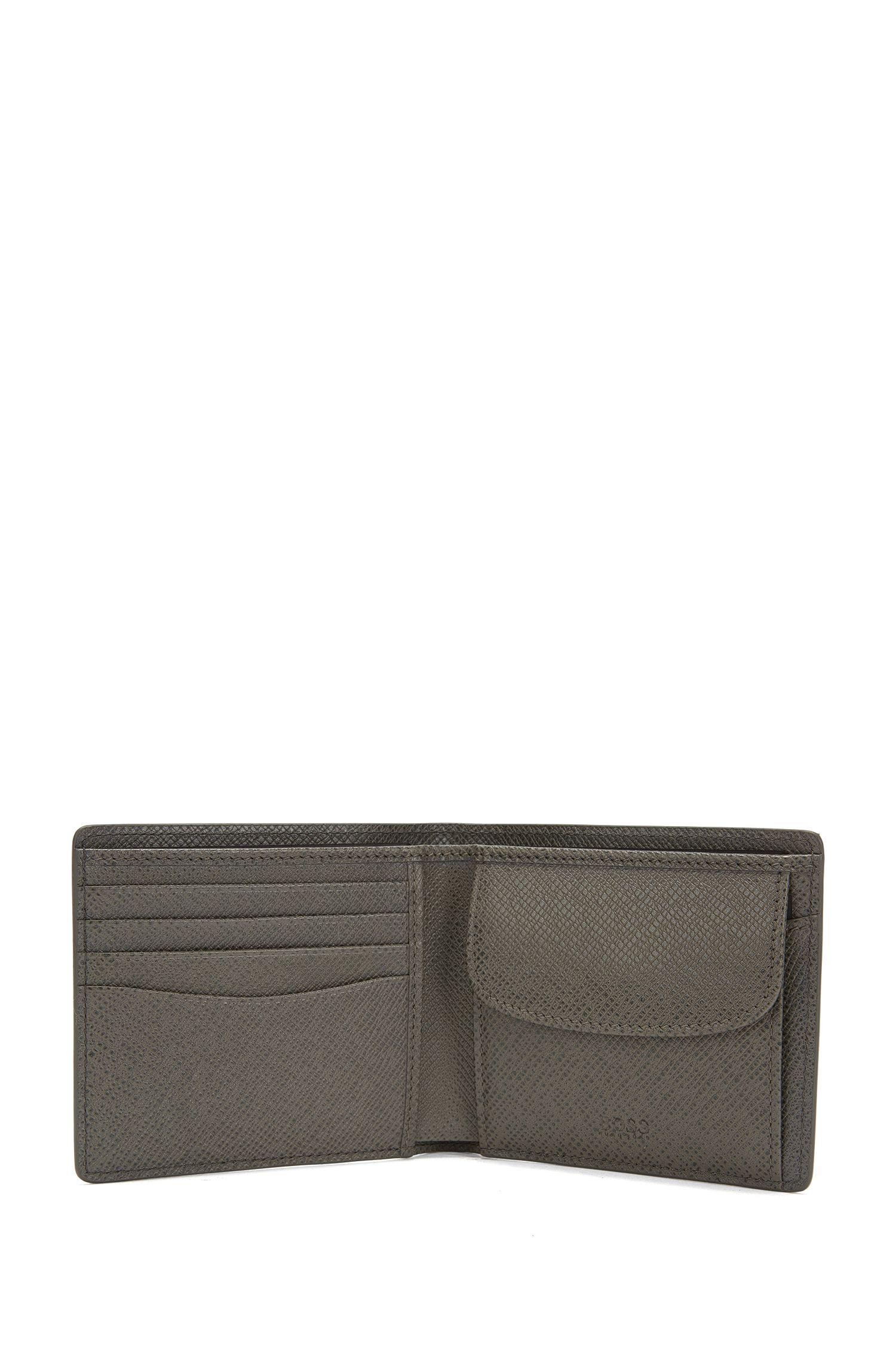 Calfskin Pebbled Wallet | Signature Coin, Dark Grey