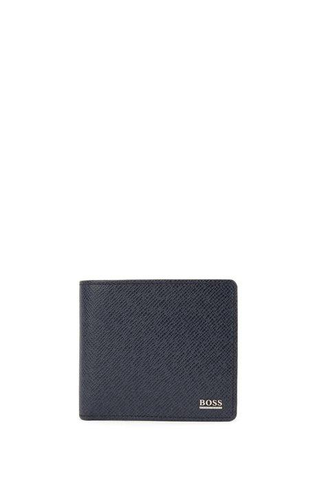 Calfskin Pebbled Wallet | Signature Coin, Dark Blue