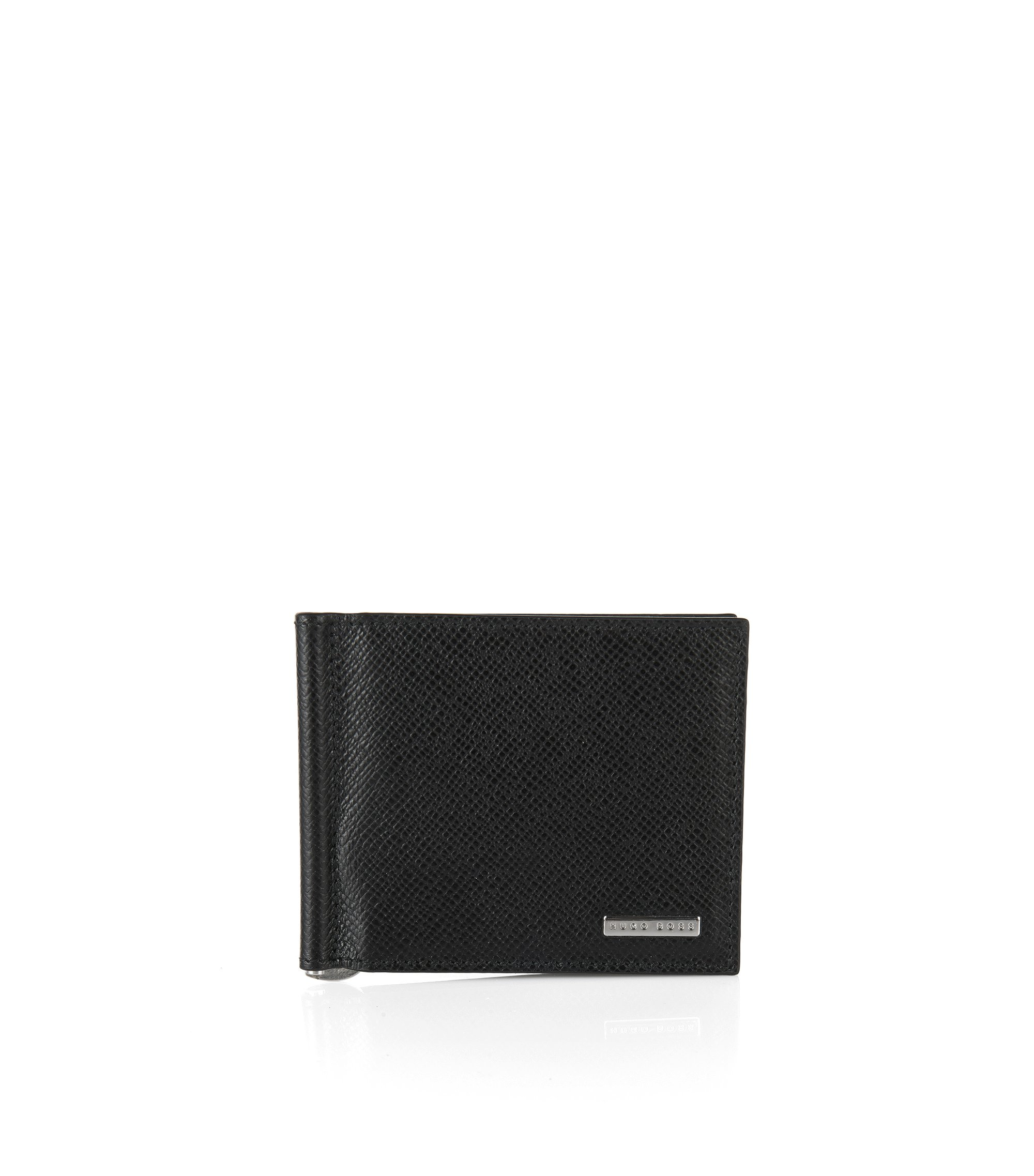 'Signature Clip' | Calfskin Printed Card Case, Money Clip, Black