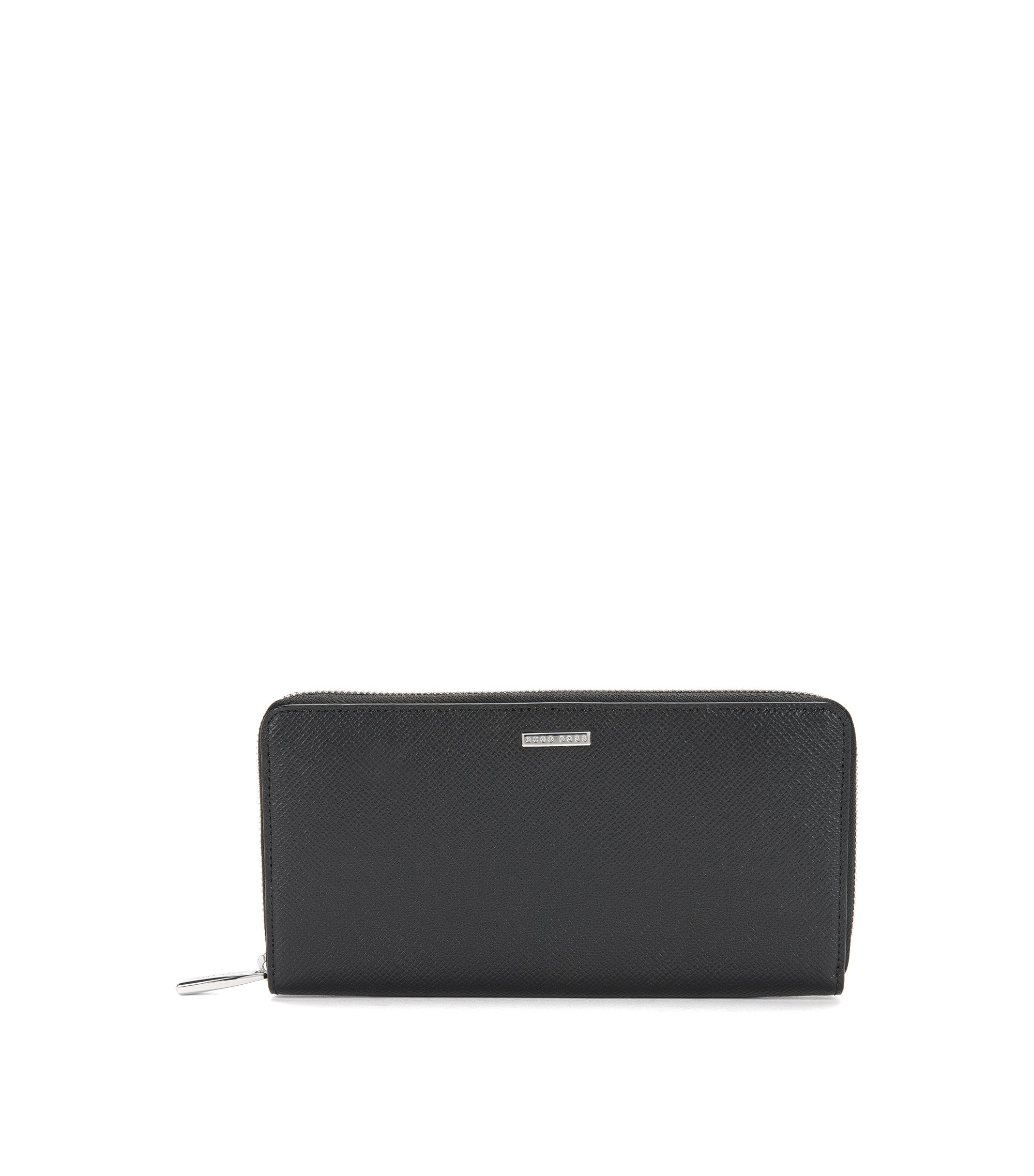 Embossed Leather Wallet | Signature S Zip Trav, Black