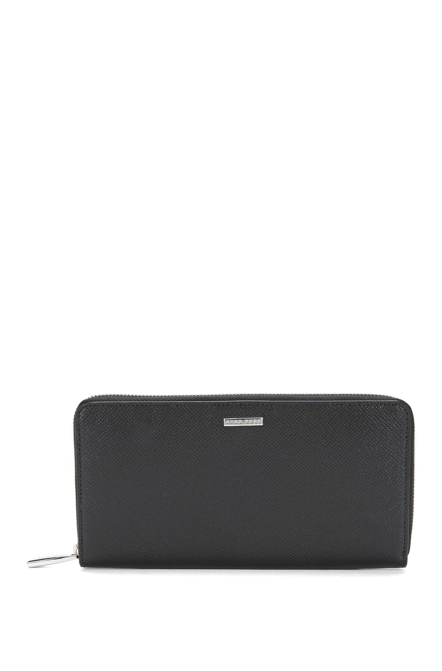 Embossed Leather Wallet | Signature S Zip Trav