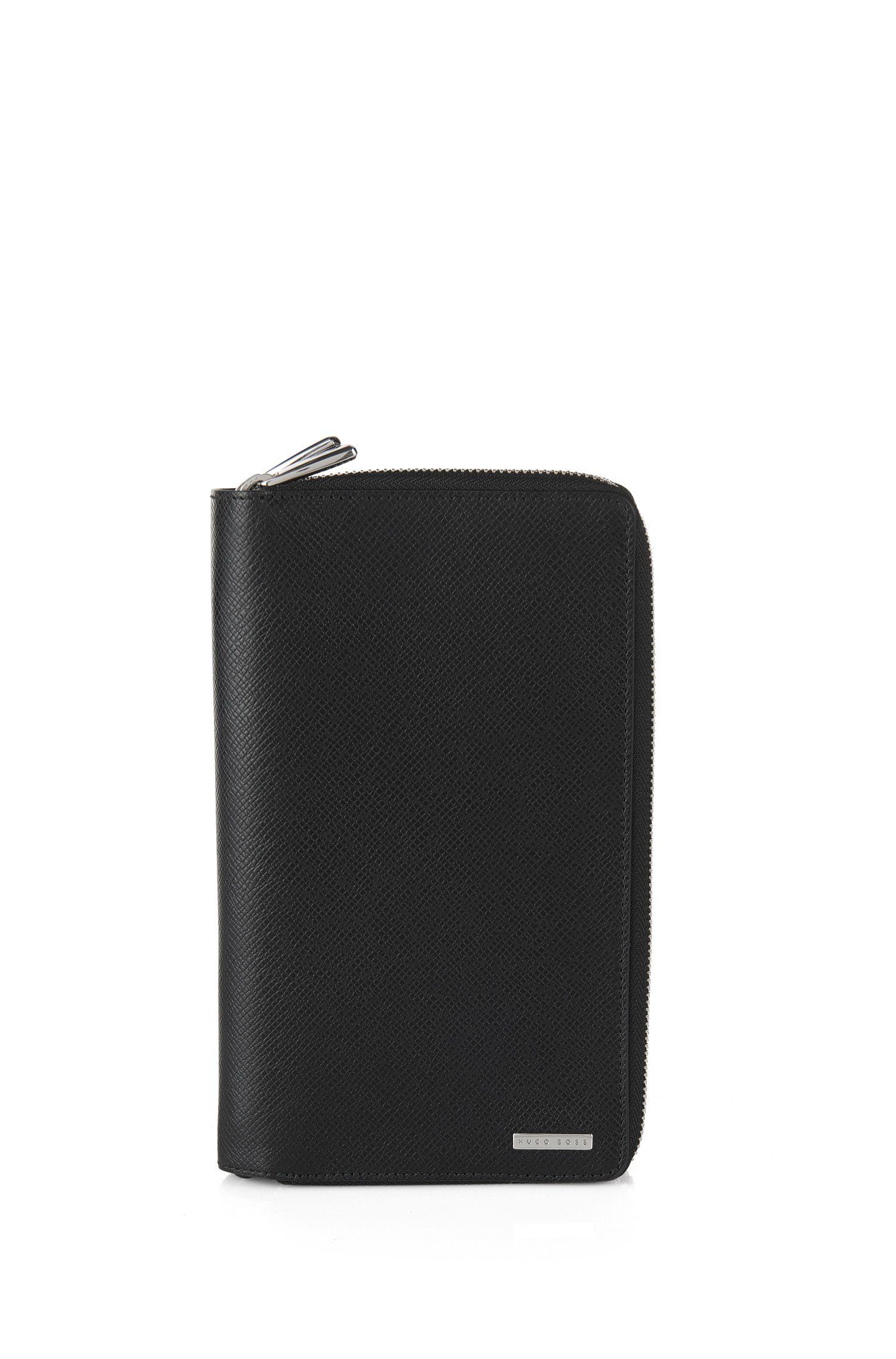 'Signature_D Zip Trav'   Leather Travel Organizer, Black