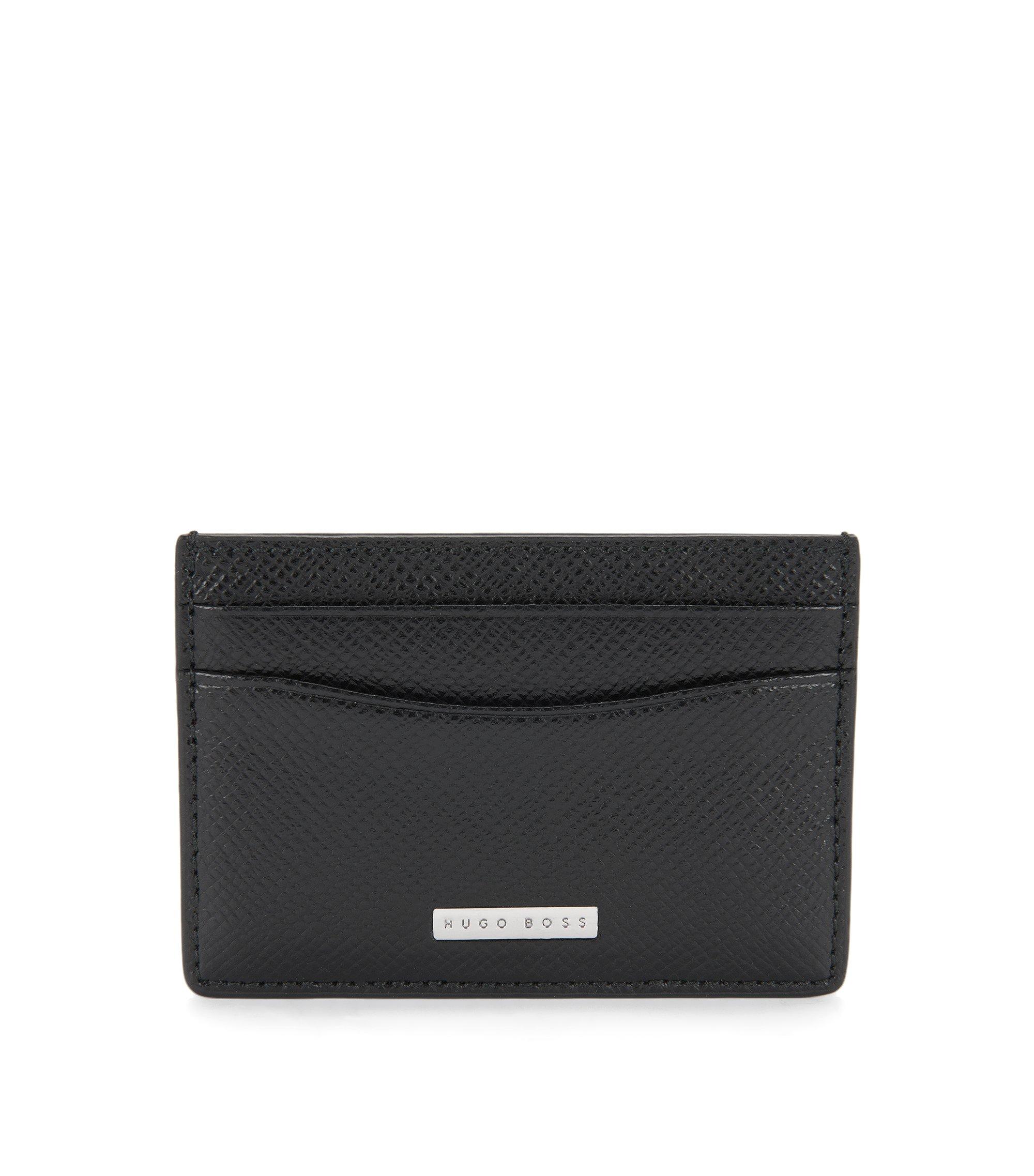 Calfskin Card Case | Signature S Card, Black