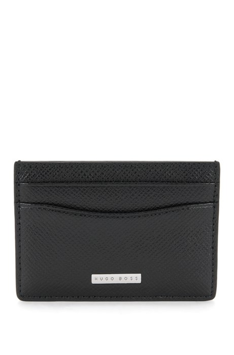 Boss signature collection card holder in grained palmellato leather signature collection card holder in grained palmellato leather black colourmoves