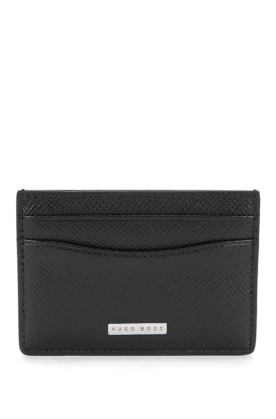 BOSS - Signature Collection card holder in grained palmellato leather
