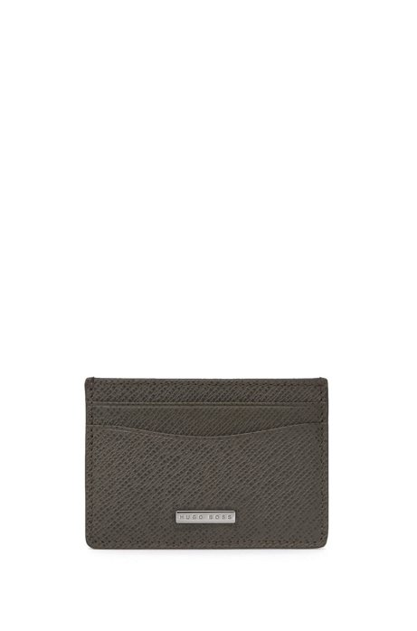 Signature Collection card holder in grained palmellato leather, Dark Grey