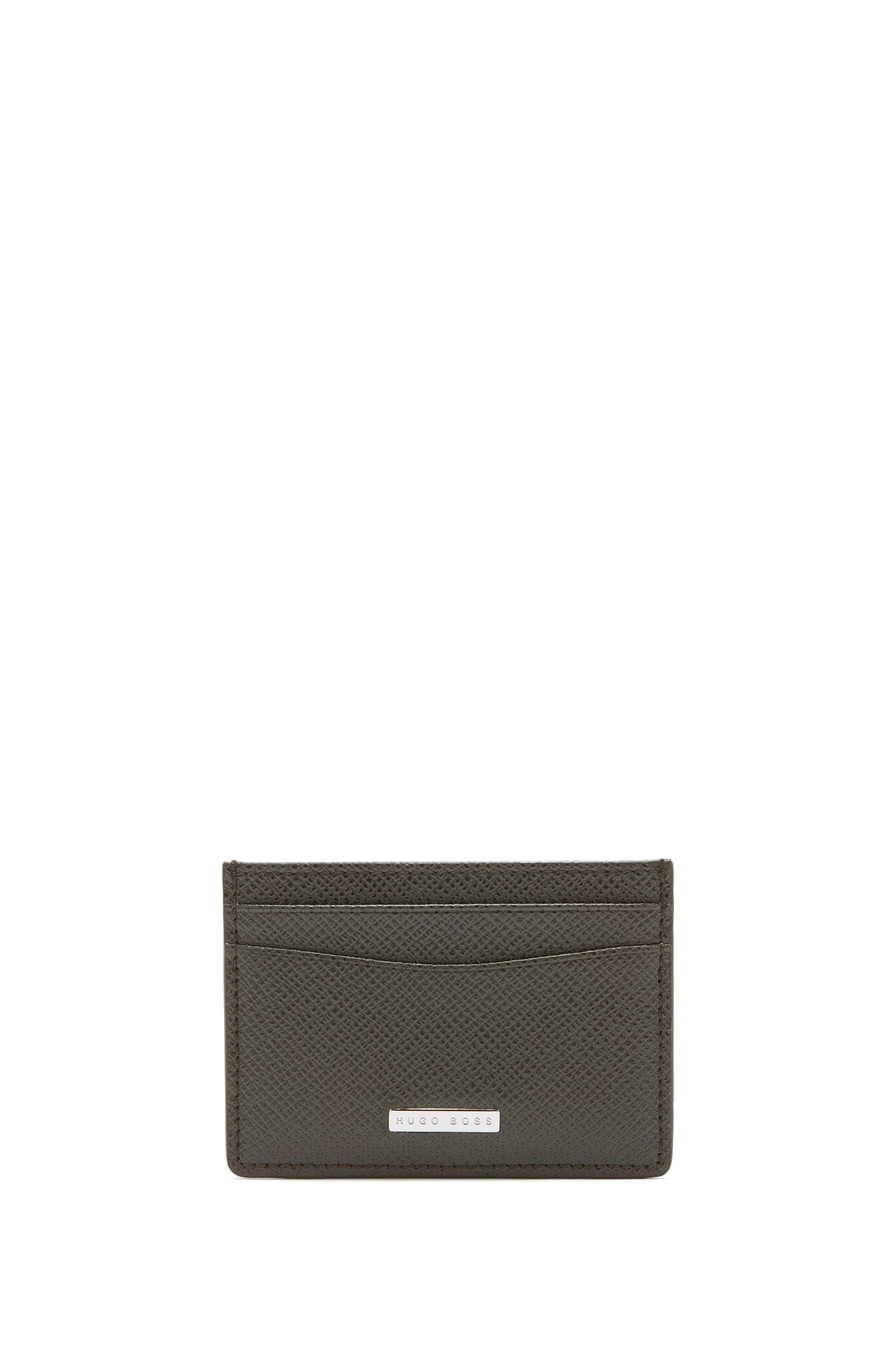 Signature Collection card holder in grained palmellato leather, Dark Green
