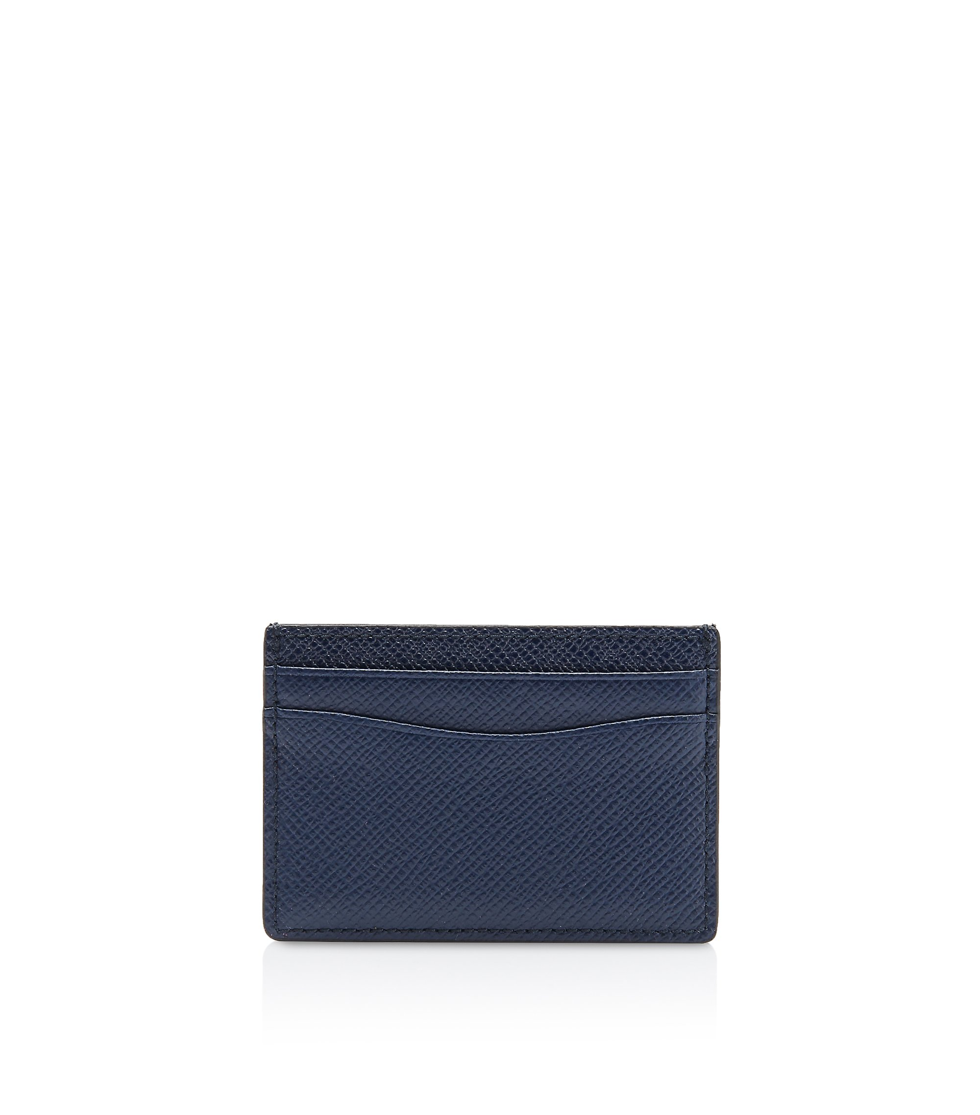 Signature Collection card holder in grained palmellato leather, Dark Blue