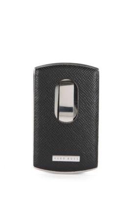 'Signature Metal Card' | Calfskin Card Case, Black