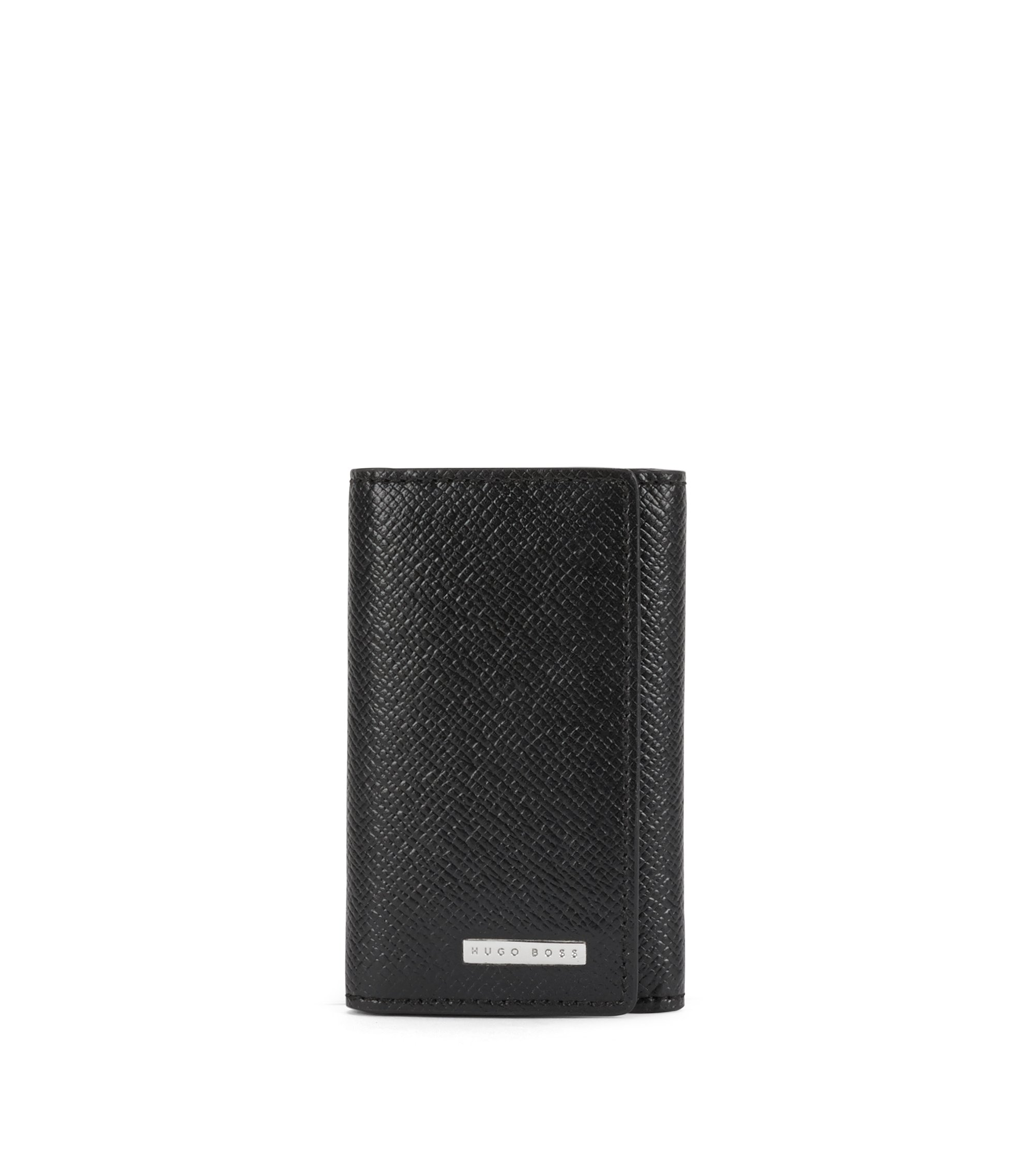 Embossed Leather Key Holder | Signature 7 Keys, Black