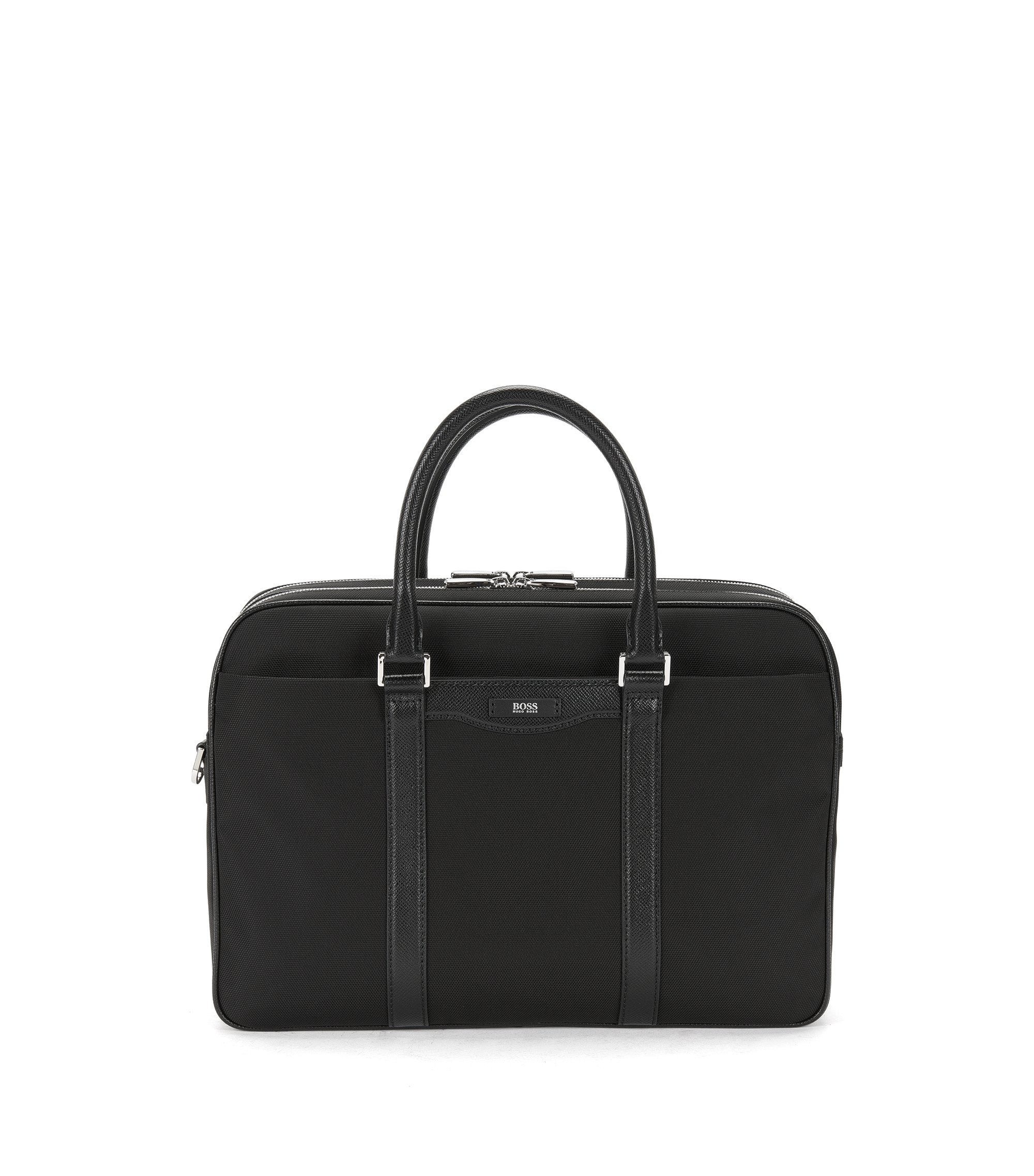 Nylon Leather Workbag | Signature L D Doc, Black