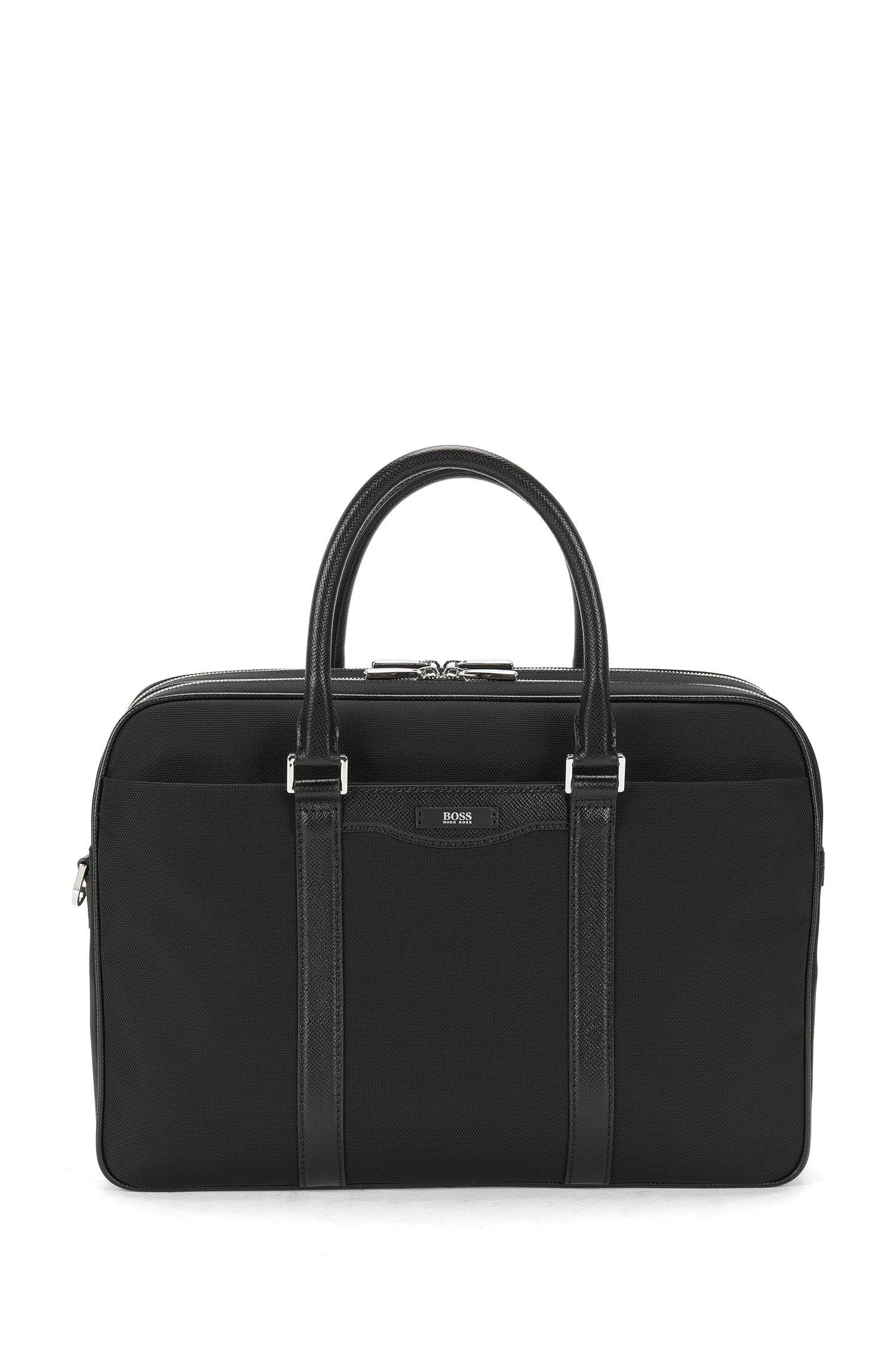 'Signature L D Doc' | Nylon Leather Workbag, Detachable Shoulder Strap