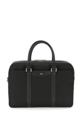 'Signature L D Doc' | Nylon Leather Workbag, Detachable Shoulder Strap, Black
