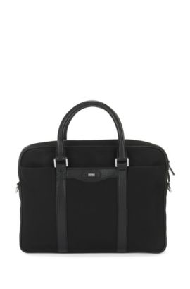 'Signature L_S doc' | Nylon Blend Workbag, Detachable Shoulder Strap, Black