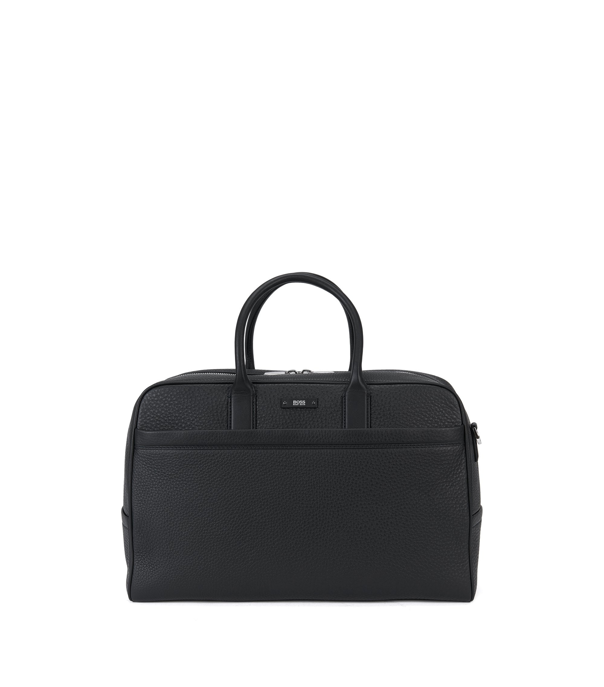 'Traveller Holdall' | Leather Weekender Bag, Detachable Shoulder Strap, Black